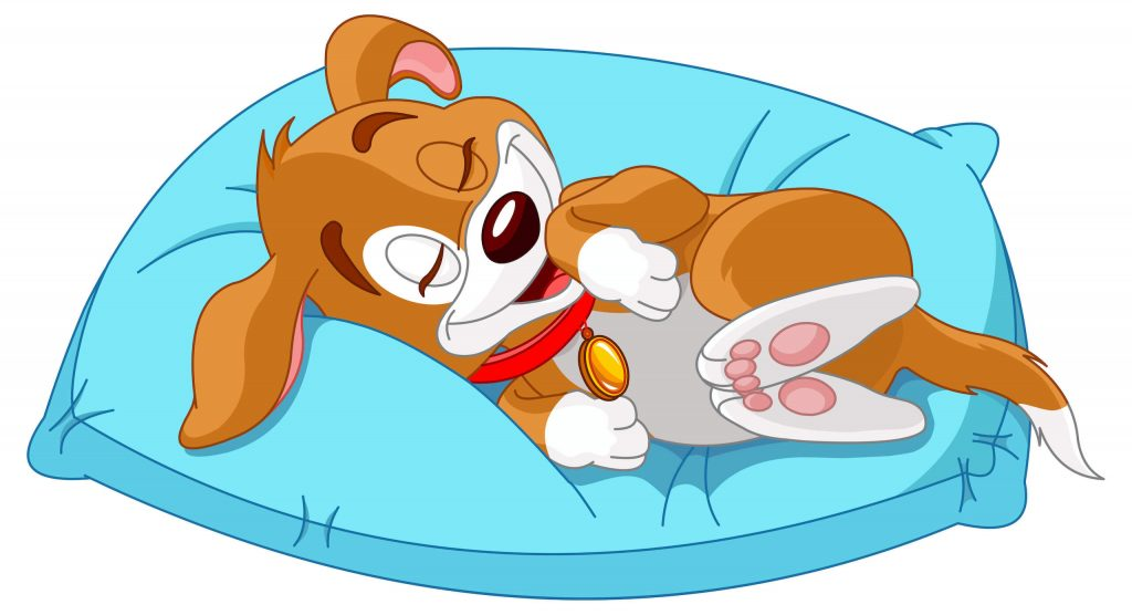 Illustration of puppy sleeping on dog bed